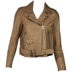 Tan Sandro Leather Moto Jacket