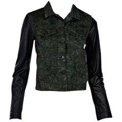 Green Rag & Bone Camo Leather-Sleeve Jacket