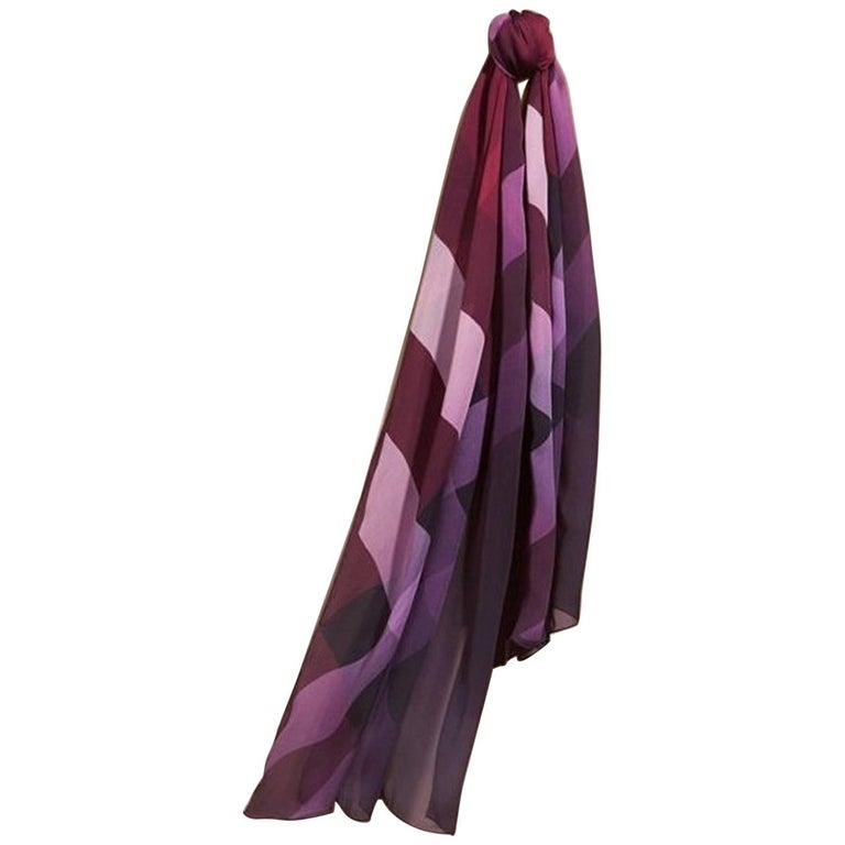 burberry ombre check silk scarf plum for sale at 1stdibs