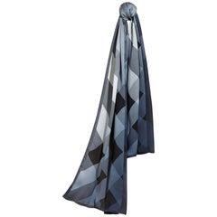 Burberry Ombre Check Silk Scarf Blue