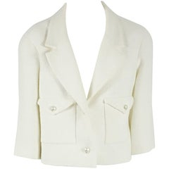 Chanel White Cotton/Silk Textured Short Jacket with Pearl Buttons - 44