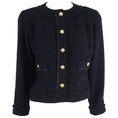 Chanel Navy Wool Classic Style Jacket with matching pleated skirt - 34 - 1990s