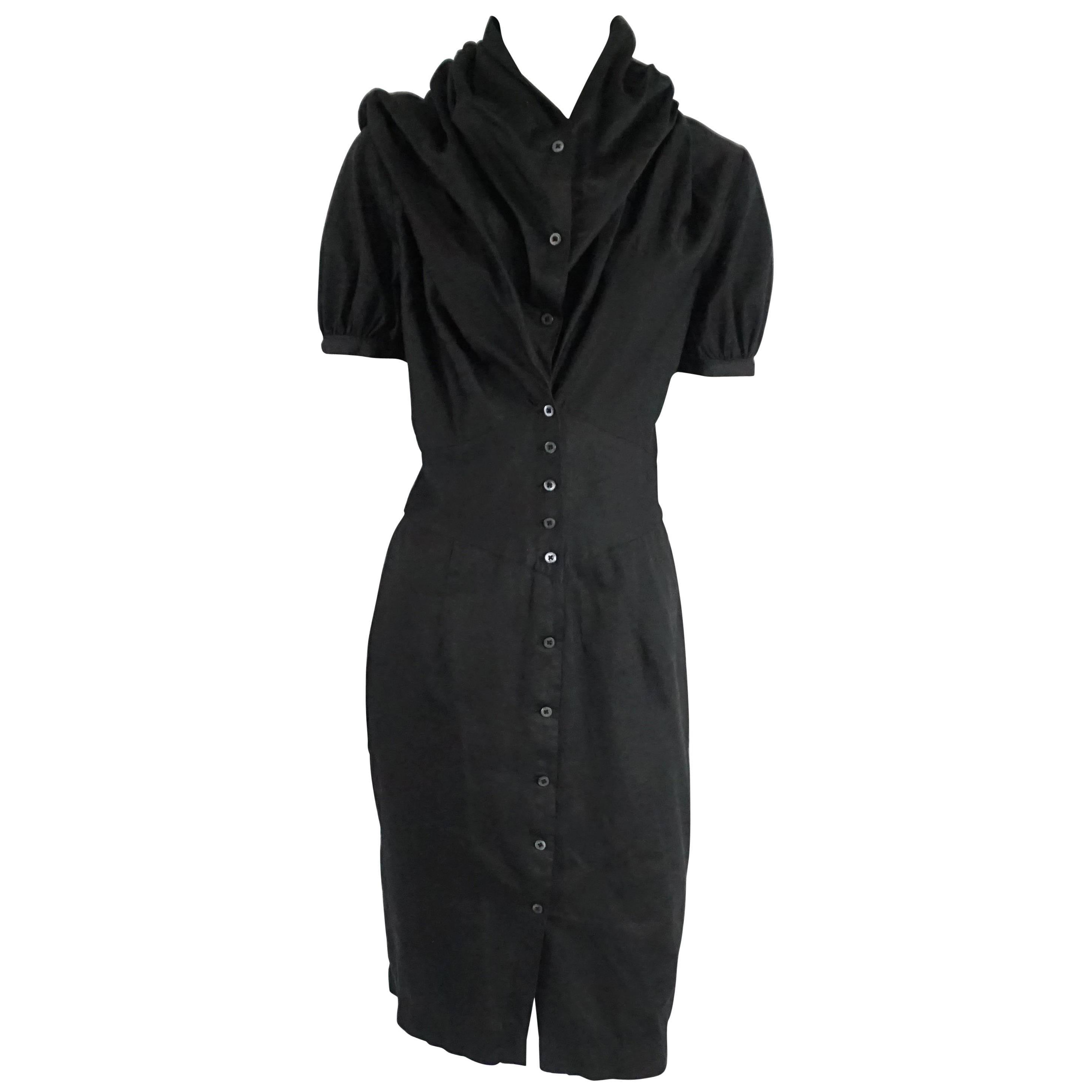 Vivienne Westwood Black Button Down Cotton Dress - 42