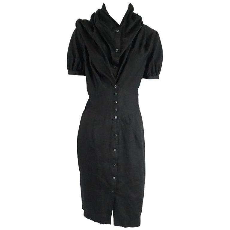 Vivienne Westwood Black Button Down Cotton Dress - 42 For Sale