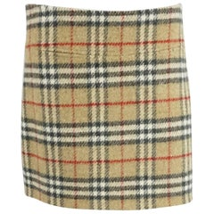 Burberry Beige Novecheck Wool Skirt - 8