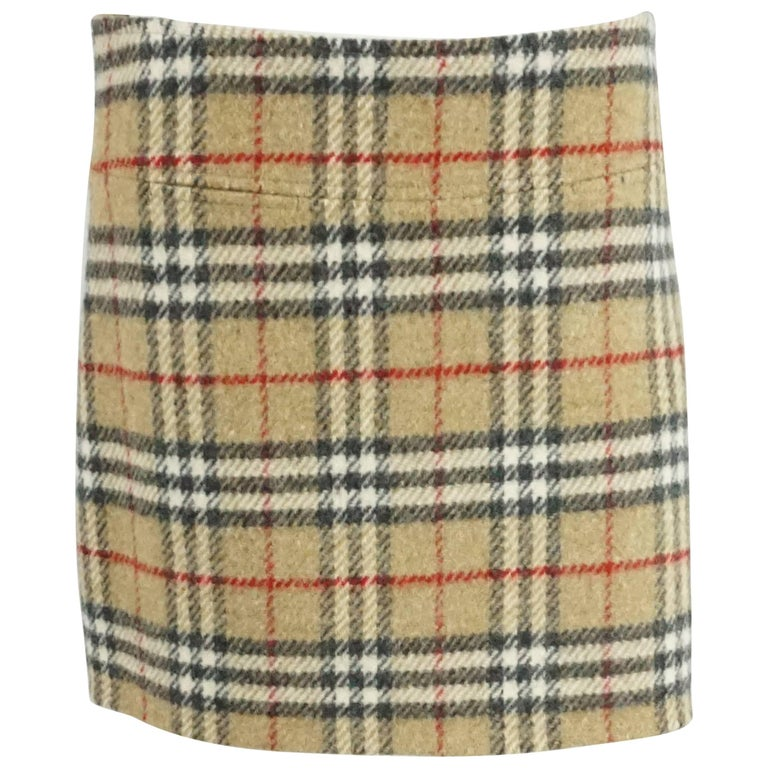 Burberry Beige Novecheck Wool Skirt - 8