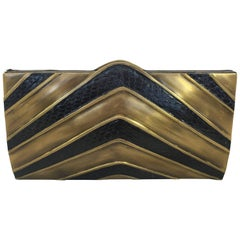 Ray Augousti Bronze and Snake Skin V Clutch