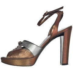 Celine Bronze & Pewter Leather Platform Pumps Sz 38