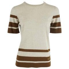 Salvatore Ferragamo Grey and Brown Virgin Wool Top - M