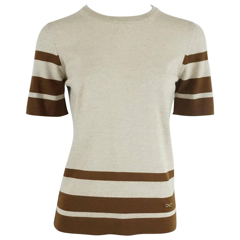 Salvatore Ferragamo Grey and Brown Virgin Wool Top - M