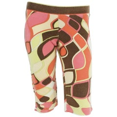 Pucci Coral, Green, and Brown Terry Cloth Bermuda Shorts - 40