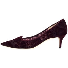 Jimmy Choo Bordeaux Velvet Allure Kitten Heels Sz 38 NIB