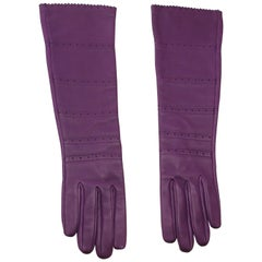 HERMES Ultra Purple leather Long Gloves Size 7.5  / BRAND NEW