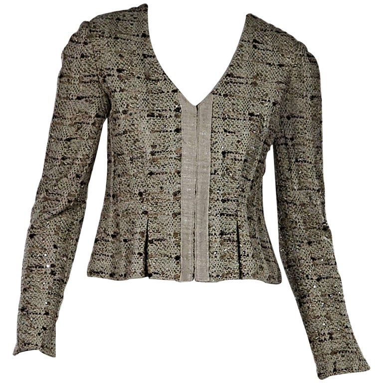 Beige St. John Embellished Cropped Jacket