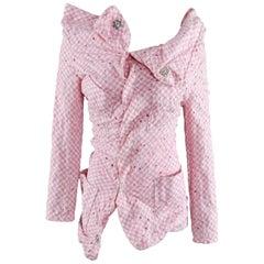 Junya Watanabe Comme des Garcons Pink Cotton gingham Asymmetrical Jacket