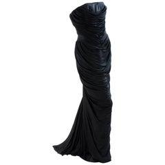 Versace Couture Black Silk Evening Gown Draped Mermaid Corset Dress Train sz42