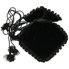 Yves Saint Laurent Vintage Black Velvet Satin Evening Bag /Excellente condition