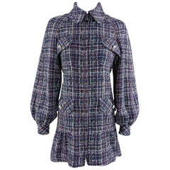 Chanel 17P 2017 Spring Navy / multi tweed Coat w Pearl Buttons