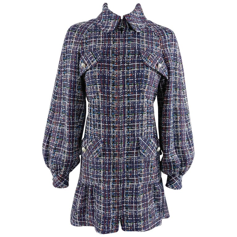 Chanel 17P 2017 Spring Navy / multi tweed Coat w Pearl Buttons For Sale