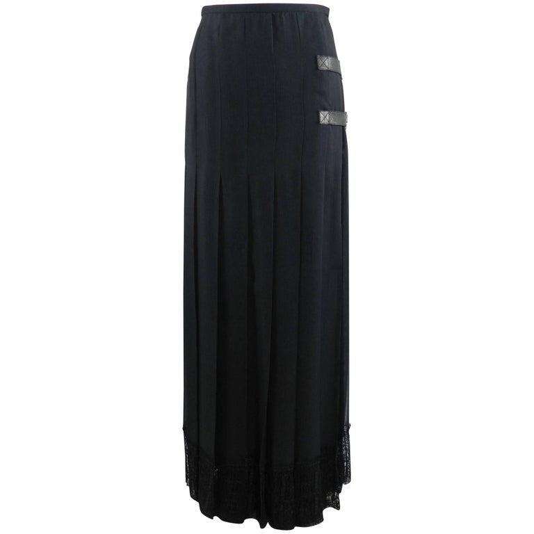 Chanel Edinburgh 13A 2013 Runway Long Black silk Skirt with Lace Hem For Sale