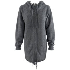 Chanel Gray Cashmere Zipper hoodie Sweater