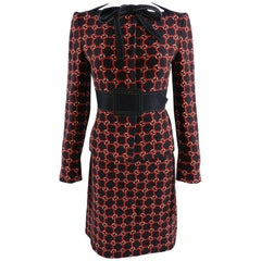 Moschino Black and Red 1960's Style Mod Pattern Skirt Suit