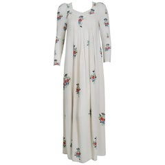 1975 Ossie Clark Ivory Floral Celia Birtwell Print Moss-Crepe Pleated Maxi Dress