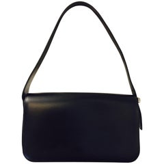 Classic Cartier Black Smooth Leather Panthere Flap Shoulder Bag
