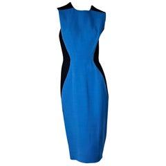 Black & Blue Victoria Beckham Colorblock Sheath Dress