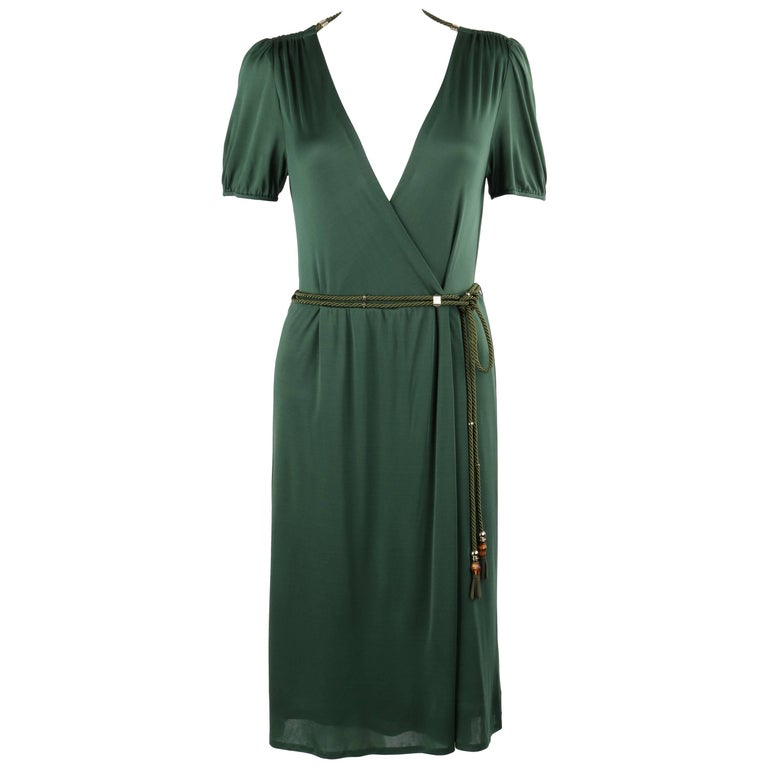 GUCCI Resort 2007 Forest Green Jersey Knit Wrap Cocktail Dress + Rope Belt NWT For Sale
