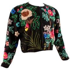 Jeanette Kastenberg St Martin Floral Sequins Bolero Evening Jacket, 1980s