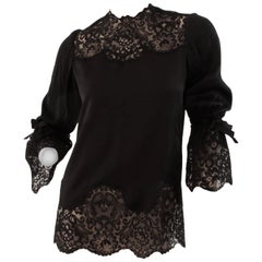 Rare Tiziani Roma Black Silk Blouse with Lace Bell Sleeves Haute Couture 1960s 8
