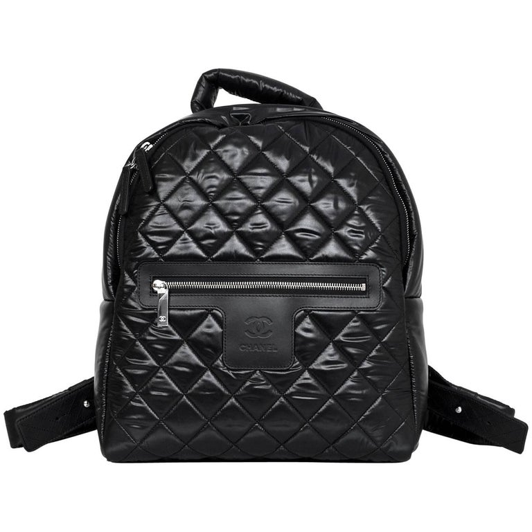 Chanel NEW 2017 Black Quilted Nylon Coco Cocoon Backpack Bag For ...