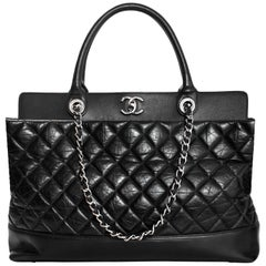 Chanel Black Aged Calfskin Leather Quilted Be CC Double Handle Tote Bag