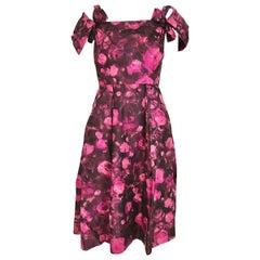 1950s HARVEY BERIN Magenta Pink floral Print Silk Cocktail Dress