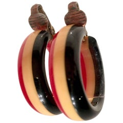 """1930'S Bakelite """"Philadelphia"""" Tri - Color Hoop Earrings"""