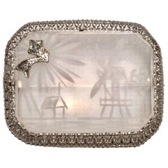 Antique Etched Rock Crystal & Diamond Platinum Set Filagree Brooch