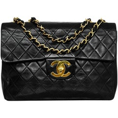 Chanel Vintage Black Quilted Lambskin Classic Maxi Flap Bag