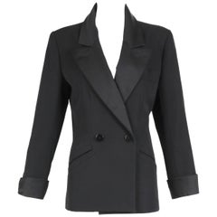 Iconic Yves Saint Laurent YSL Black Le Smoking Tuxedo Jacket Blazer