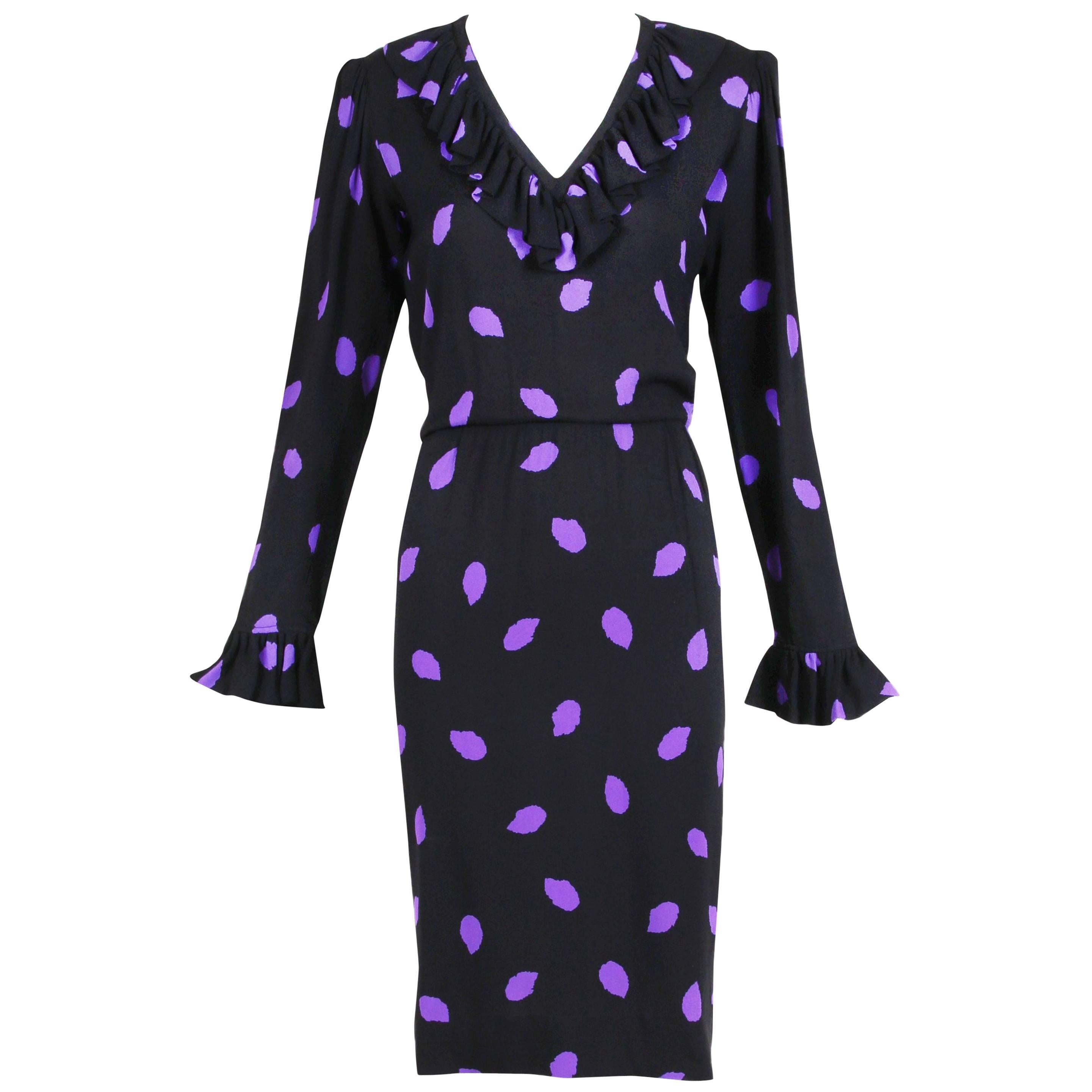 Yves Saint Laurent Black & Purple Abstract Print Day Dress w/Ruffled Trim