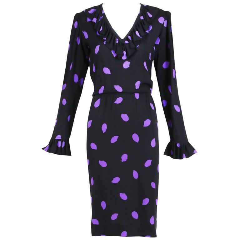 8f84b18164a Yves Saint Laurent Black & Purple Abstract Print Day Dress w/Ruffled Trim  For Sale