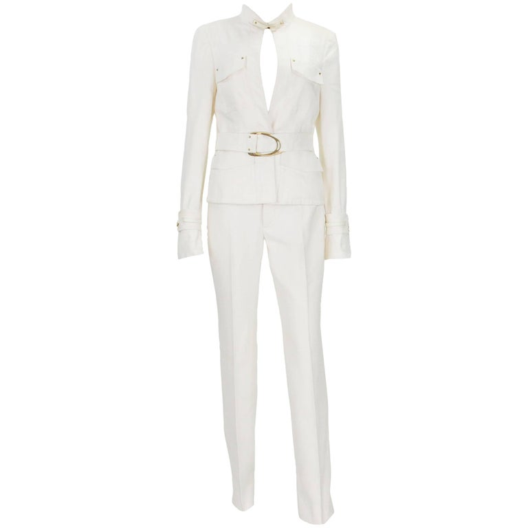 Tom Ford for Gucci 2003 Collection White Cotton Belted Pant Suit