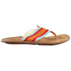 Men's DSQUARED2 Size 8 Tan Multi-Color Woven Strap Leather Thong Sandals