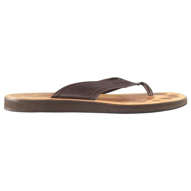 9c605d69f686 Men s SALVATORE FERRAGAMO Size 11 Brown Textured Leather Thong Sandals For  Sale