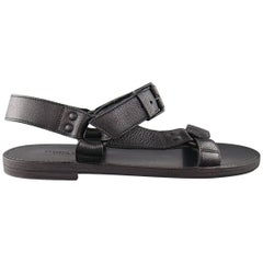 Men's BOTTEGA VENETA Size 9 Black Textured Leather Ankle Strap Sandals
