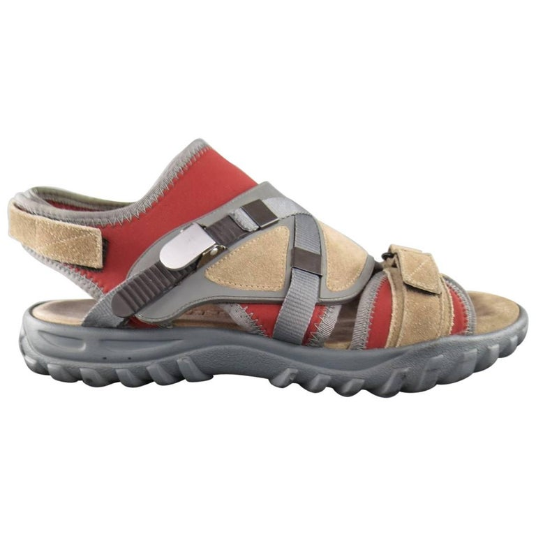 Men's LANVIN Size 10 Beige & Red Neoprene & Suede Hybrid Strap Sandals