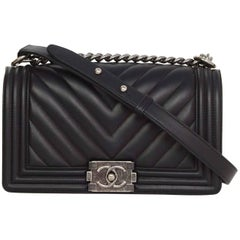 Chanel '16 Black Chevron Quilted Lambskin Leather Old Medium Boy Bag