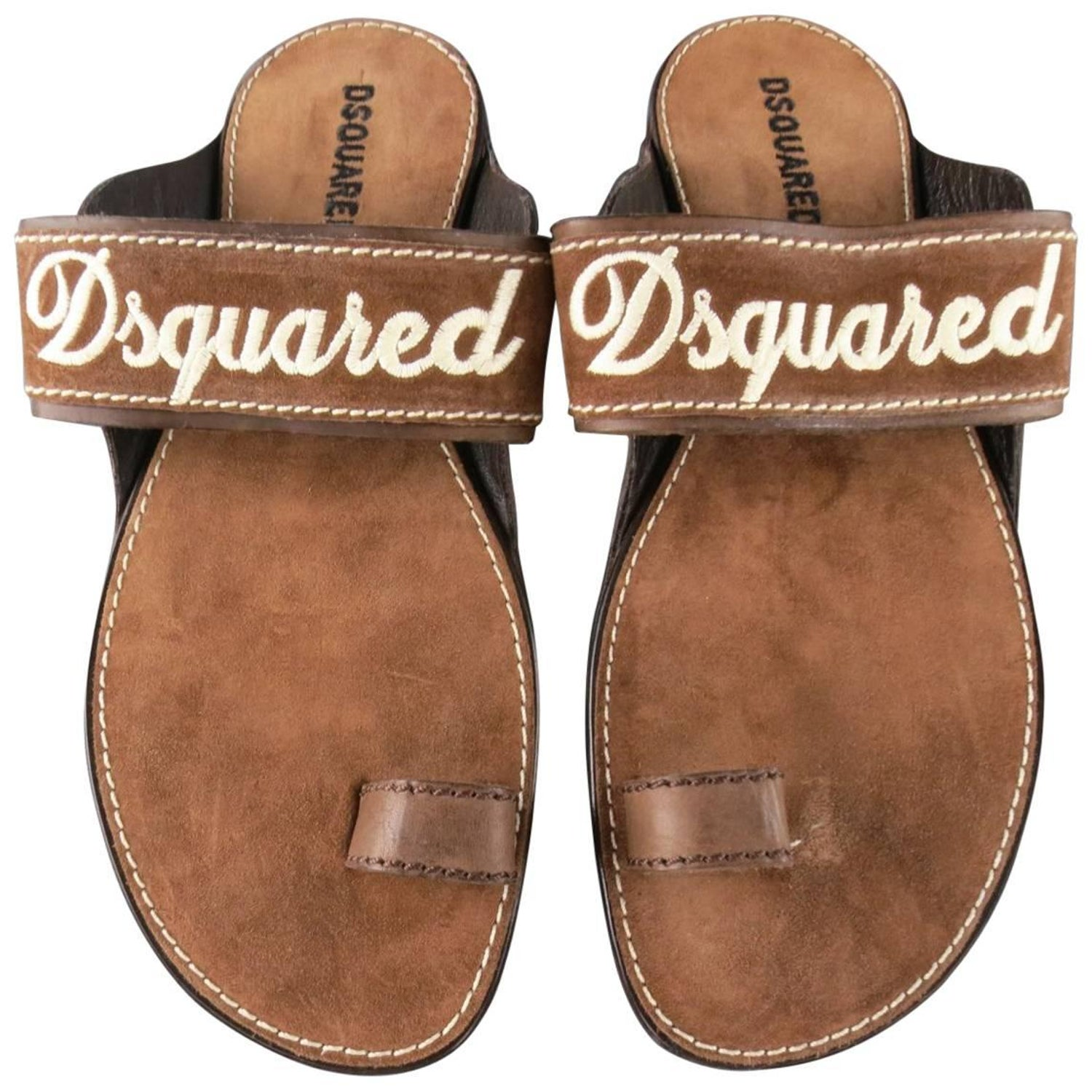 5ea1bcedb05 Men s DSQUARED2 Size 8 Brown Embroidered Logo Suede Sandals For Sale at  1stdibs