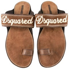 Men's DSQUARED2 Size 8 Brown Embroidered Logo Suede Sandals