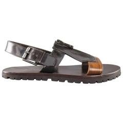Men's BELSTAFF Size 9.5 Black & Brown Two Toned Patent Leather Zip Sandals